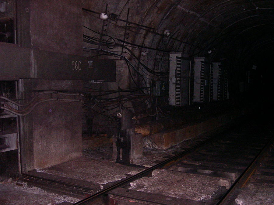 Petersburg metro, hinged hermetic door in the tunnel