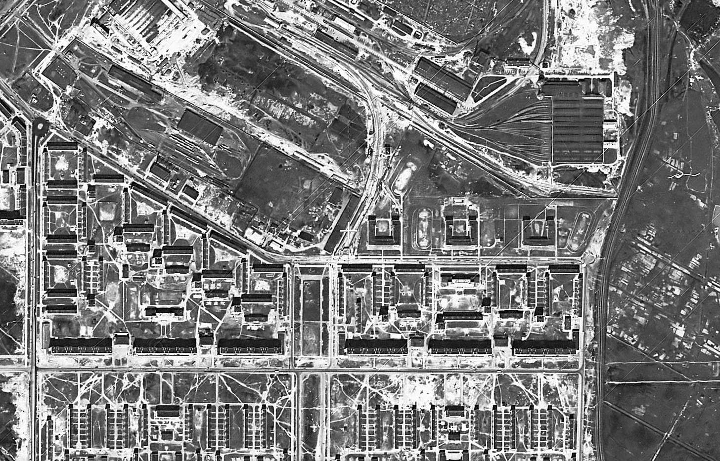 Satellite image of Dachnoe and metro depot station, 1966, CIA